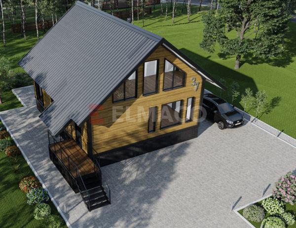 Фасад дома из металлического каркаса