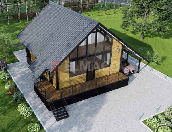 Фасад дома из металлокаркаса