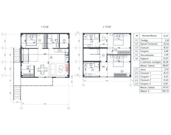 Вариант планировки дома из металлокаркаса