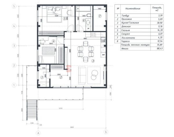 Планировка дома из металлокаркаса